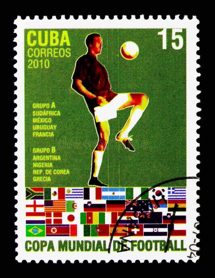 Футболист, группы a & b, кубок мира футбола - serie Южной Африки, около 2010 стоковая фотография