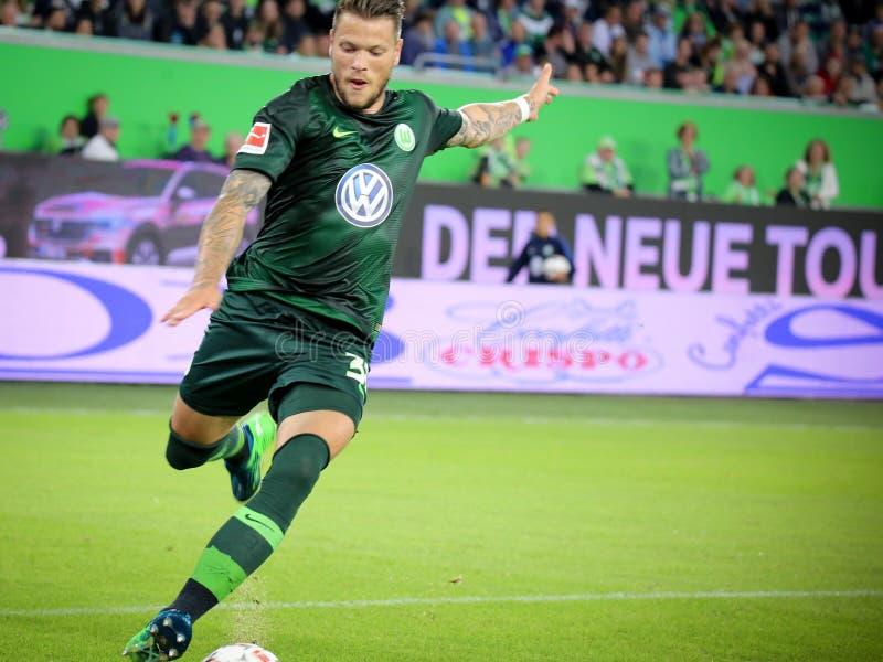 Футболист Даниель Ginczek в действии стоковое изображение