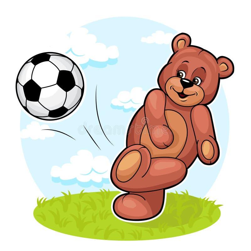 футболист медведя иллюстрация вектора