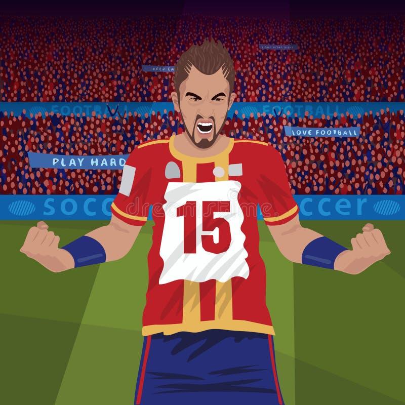 Футболист сердитый с терять бесплатная иллюстрация