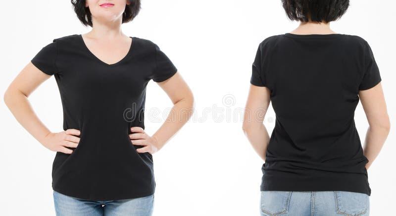 Футболка женщин черная пустая, фронт и задний вид сзади изолированная на белой предпосылке Рубашка шаблона, космос экземпляра и г стоковые фото