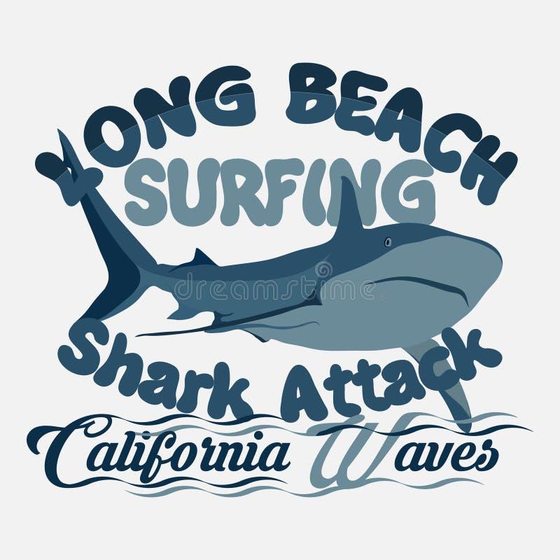 Футболка занимаясь серфингом графический дизайн печати, нападение акулы, Лонг-Бич иллюстрация вектора