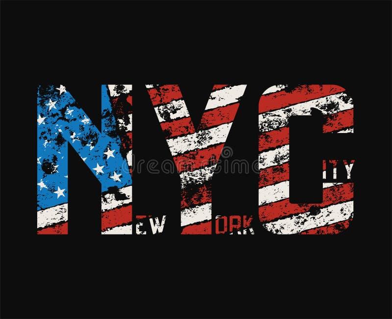 Футболка и одеяние Нью-Йорка конструируют с влиянием grunge иллюстрация вектора