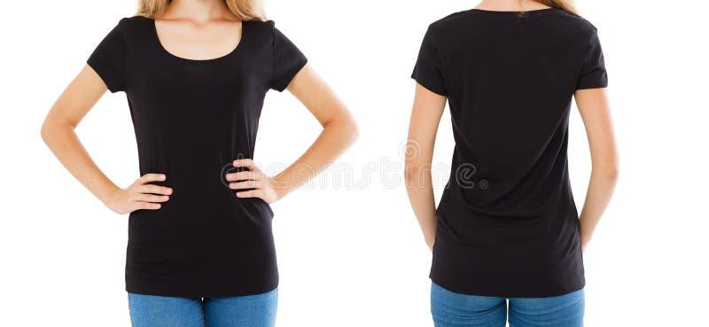 Футболка коллажа пустая, женщина в пустой футболке - передних задних взглядах, черной футболке, космосе экземпляра стоковые фотографии rf