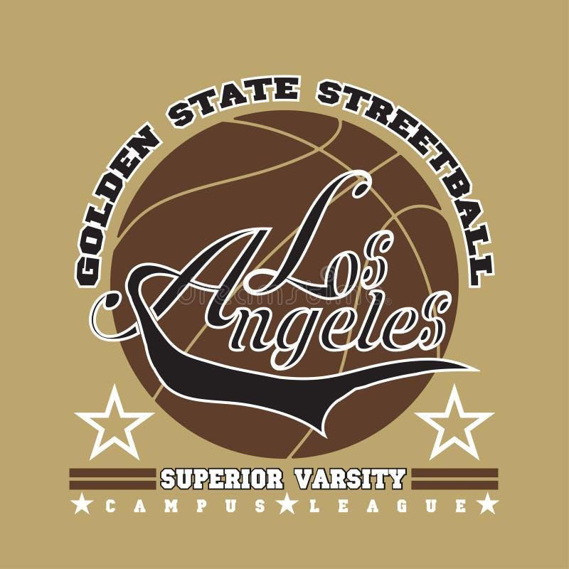 Футболка Лос-Анджелеса, график баскетбола, дизайн эмблемы спорта иллюстрация штока