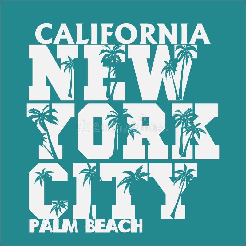 Футболка Лос-Анджелес Калифорния, печать футболки, атлетический дизайн одеяния иллюстрация вектора