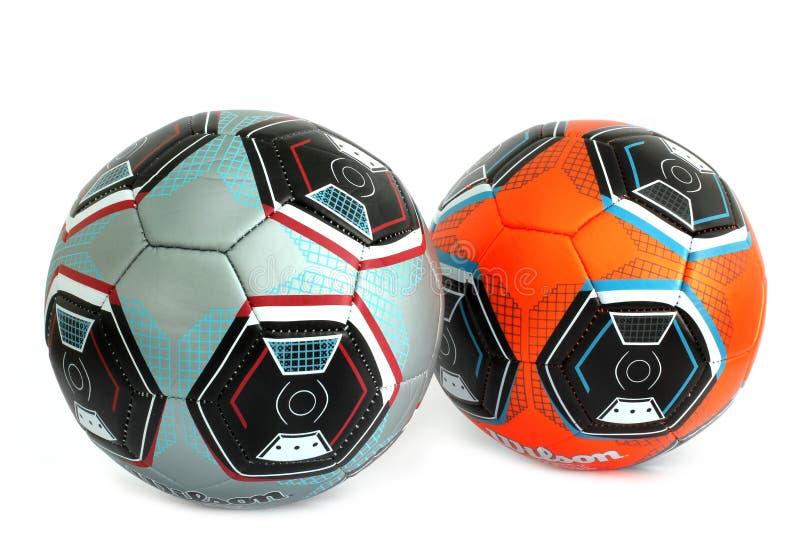 2 футбольного мяча спортивный инвентарь стоковые фотографии rf