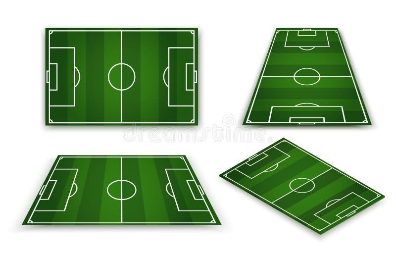 Футбольное поле, европейский футбольный стадион Суд для игры спорта вектор иллюстрация вектора