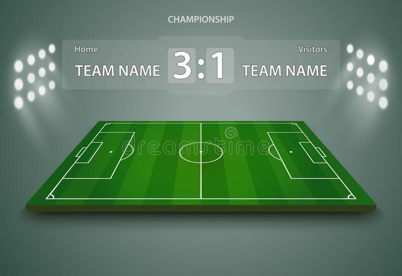 Футбольное поле, европейский футбольный стадион Суд для игры спорта вектор иллюстрация штока
