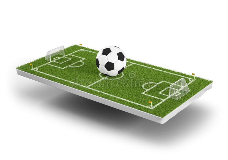 Футбольное поле зеленой травы 3d и предпосылка шарика футбола Зона объекта игры 3d футбольного стадиона Взгляд перспективы  иллюстрация вектора
