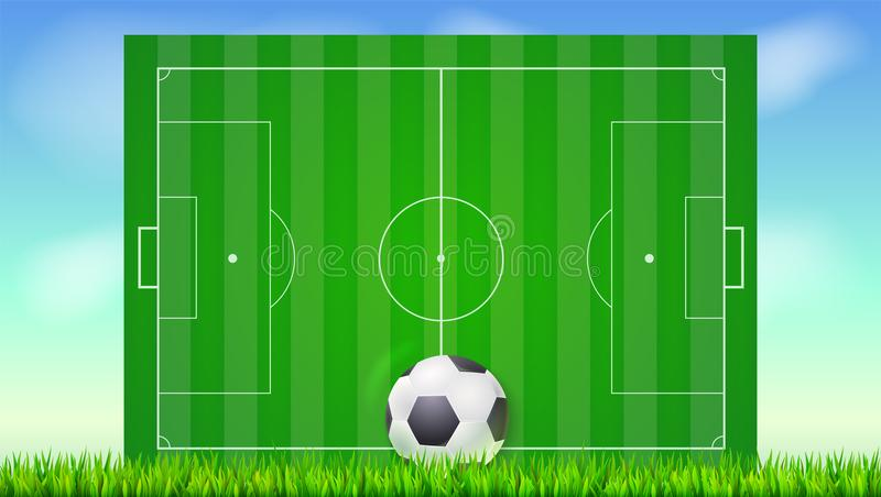 Футбольное поле с травой и шарик на голубом фоне неба Предпосылка для плакатов, знамя с европейским футбольным полем бесплатная иллюстрация