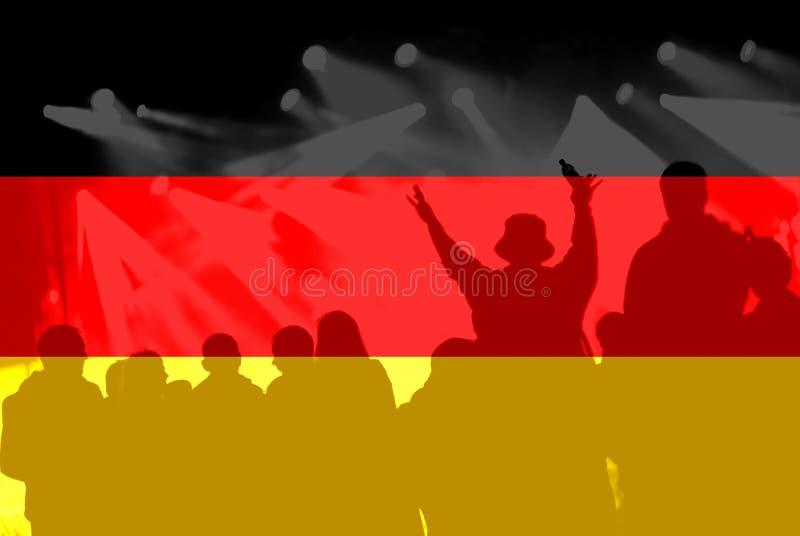 Футбольные болельщики с смешивать флаг Германии стоковое фото rf