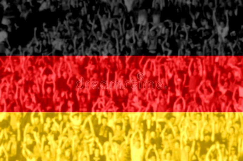 Футбольные болельщики с смешивать флаг Германии стоковая фотография rf