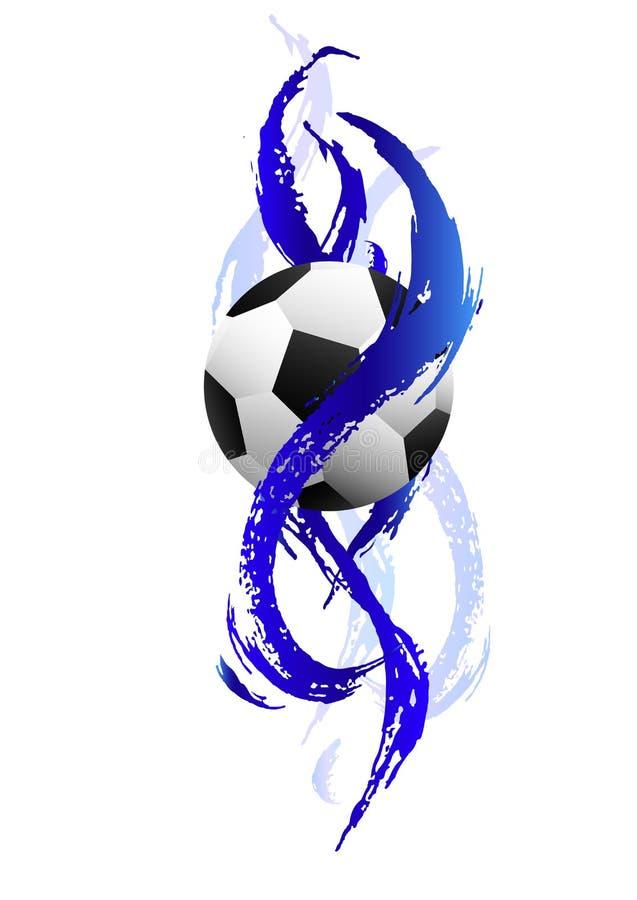 Футбольный мяч внутри голубых мазков краски иллюстрация вектора