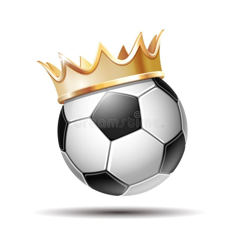 Футбольный мяч в золотой королевской кроне иллюстрация вектора