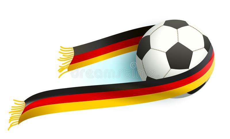 Футбольный мяч и немецкие вентиляторы поддержки шарфа флага иллюстрация вектора