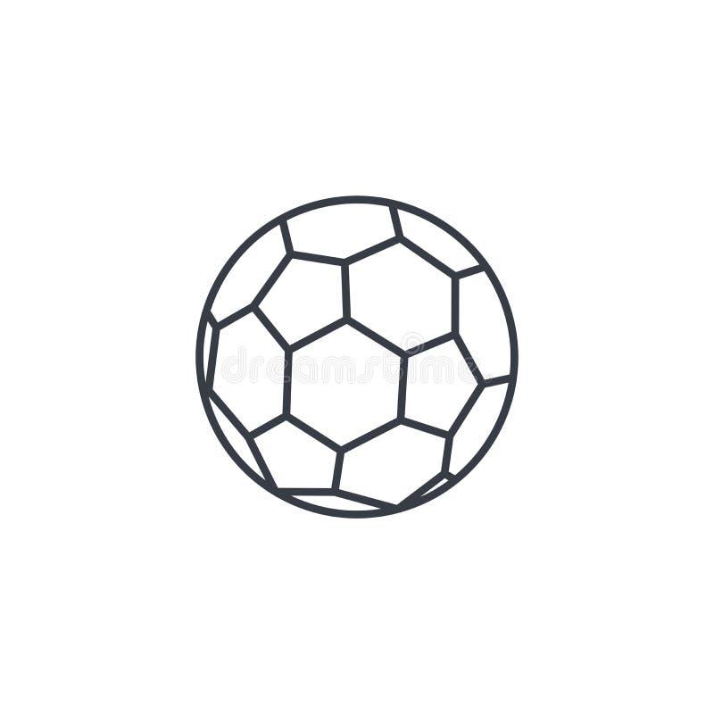 Футбольный мяч, линия значок футбола тонкая Линейный символ вектора иллюстрация вектора