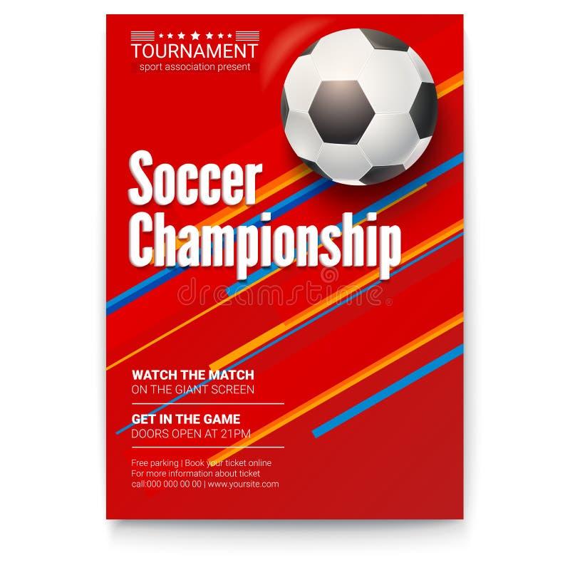 Футбольный мяч на предпосылке графиков Плакат футбольной лиги турнира Дизайн знамени для спортивных мероприятий Шаблон  иллюстрация вектора