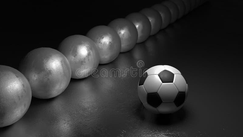 Футбольный мяч рядом со строкой сфер стоя вне от концепции кроны стоковые фотографии rf