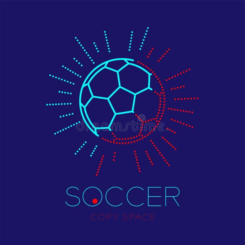 Футбольный мяч с иллюстрацией дизайна штрихового пунктира хода плана значка логотипа рамки радиуса установленной иллюстрация вектора