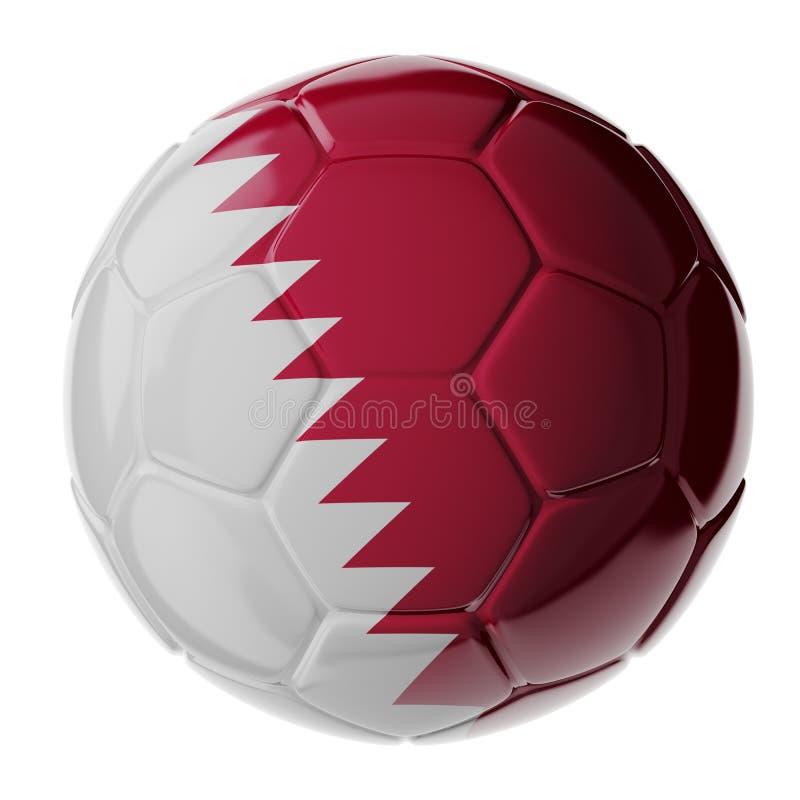 Футбольный мяч Флаг Катара стоковые изображения
