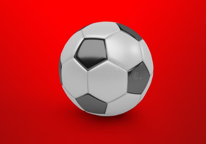 Футбольный мяч, футбол, шарик на красной предпосылке, 3D представить, иллюстрация штока