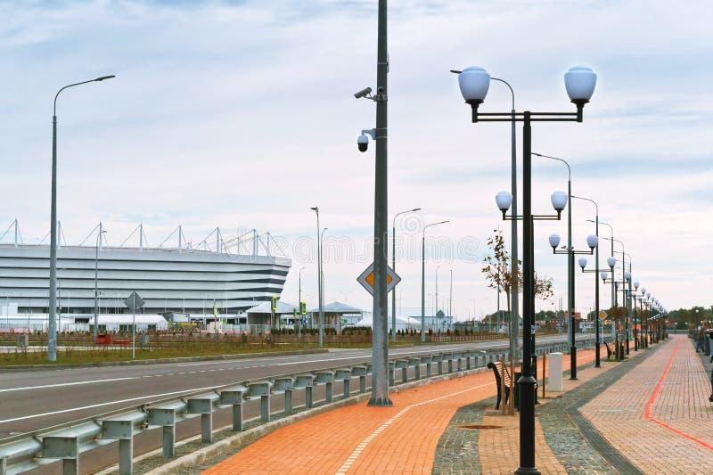 Футбольный стадион, современное спортивное сооружение стоковое фото