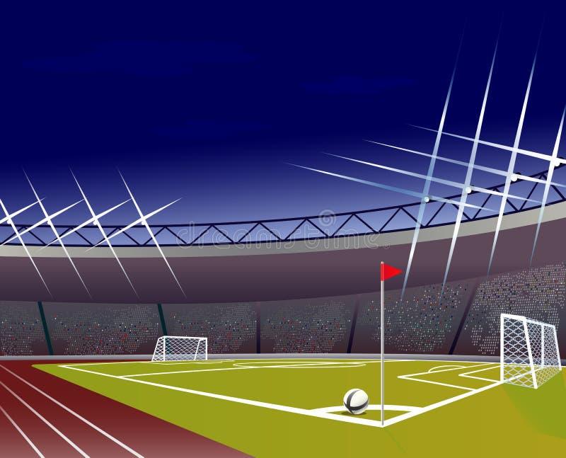 Футбольный стадион с детальными стойкой ворот, полем и трибунами иллюстрация штока