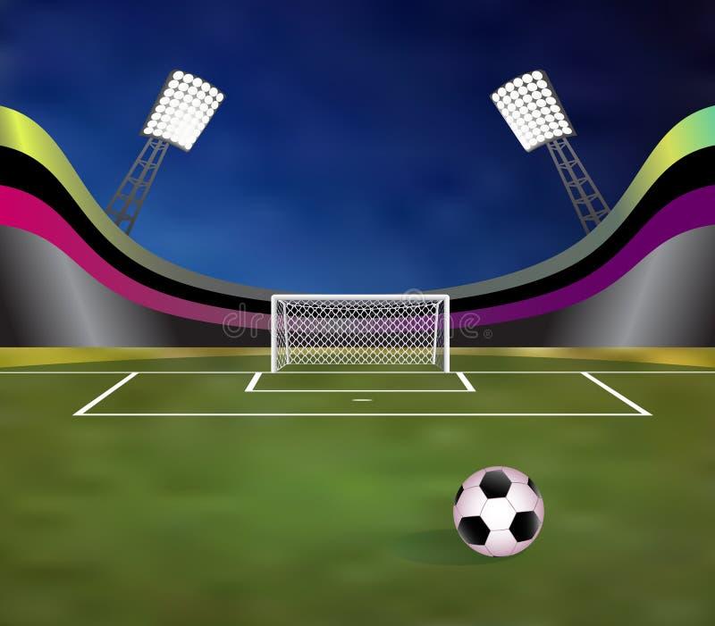 Футбольный стадион с детальными стойкой ворот, полем и трибунами иллюстрация вектора