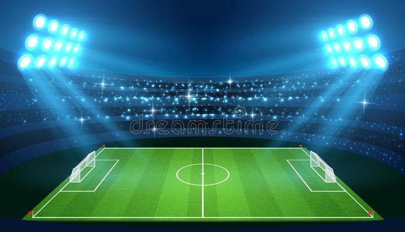 Футбольный стадион с пустым футбольным полем и фары vector иллюстрация бесплатная иллюстрация