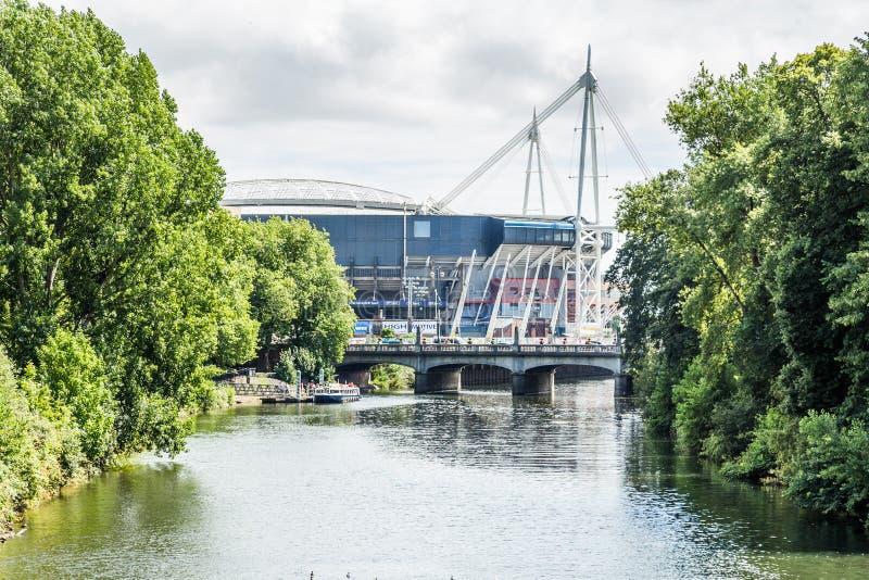 Футбольный стадион тысячелетия в центре Кардиффа, Уэльса, Великобритании стоковые фото