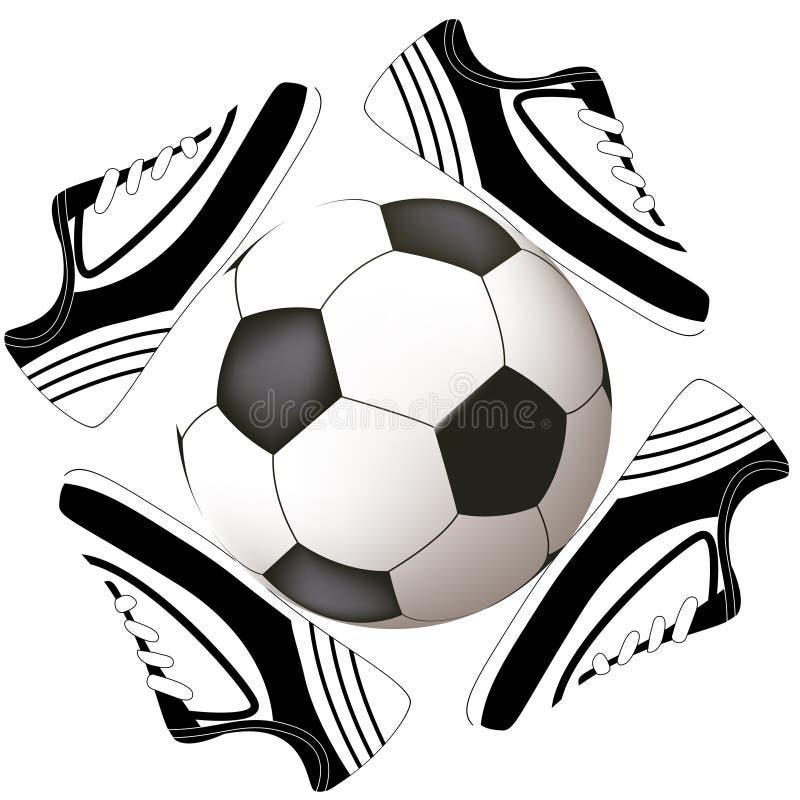 футбол ботинка конструкции шарика иллюстрация штока