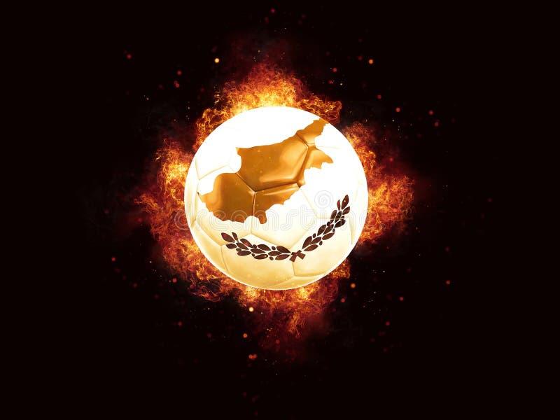 Футбол в пламенах с флагом Кипра иллюстрация штока
