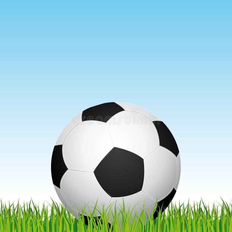 футбол горящего стекла шарика aqua Предпосылка травы футбольного стадиона и голубого неба иллюстрация иллюстрация вектора