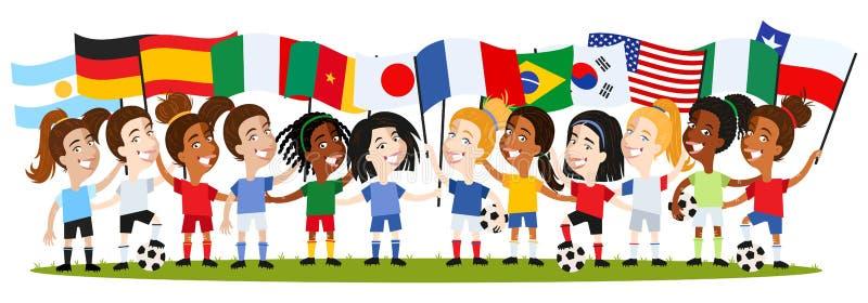 Футбол женщин, группа в составе женские игроки, женщины мультфильма держа национальные флаги, Германию, Францию, Испанию, Аргенти иллюстрация вектора