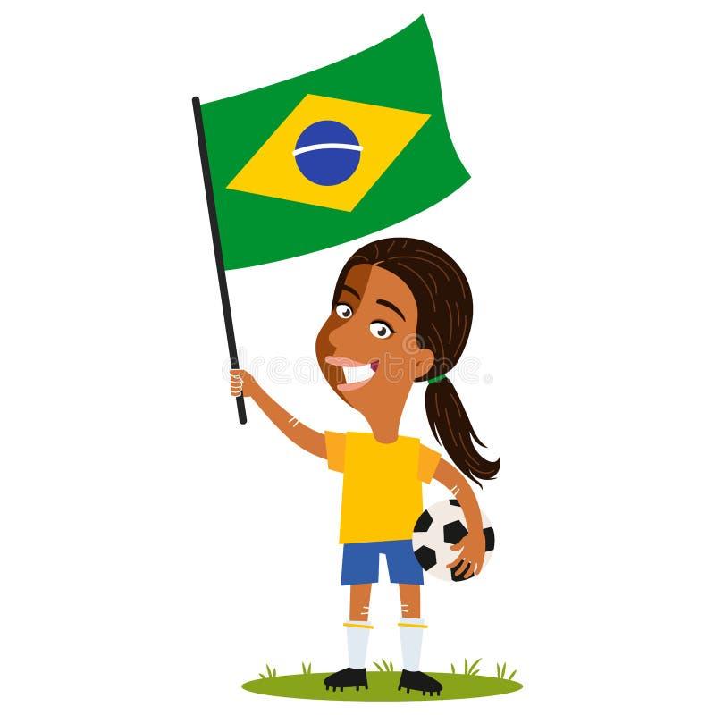 Футбол женщин, женский игрок для Бразилии, женщина мультфильма держа бразильский флаг нося желтую рубашку и голубые шорты иллюстрация вектора
