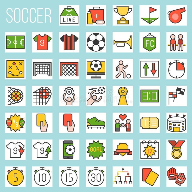 Футбол заполнил установленные значки иллюстрация штока
