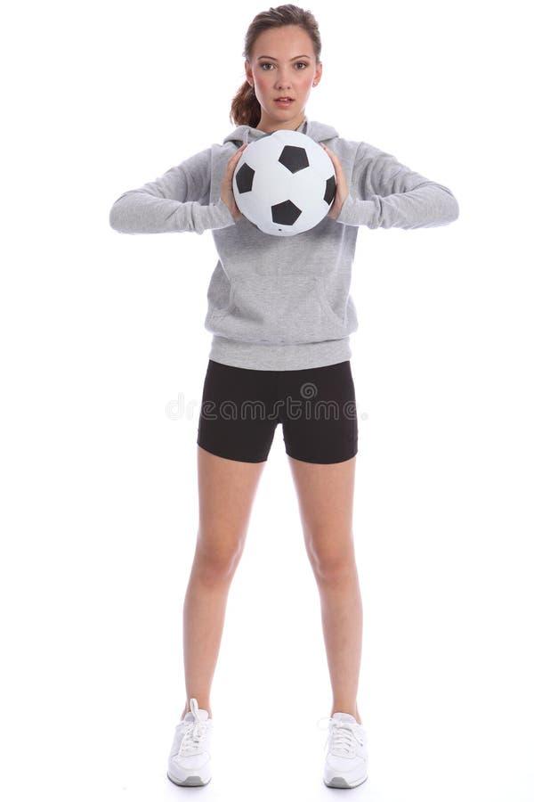 футбол игрока девушки шарика резвится высокорослое подростковое стоковое изображение rf