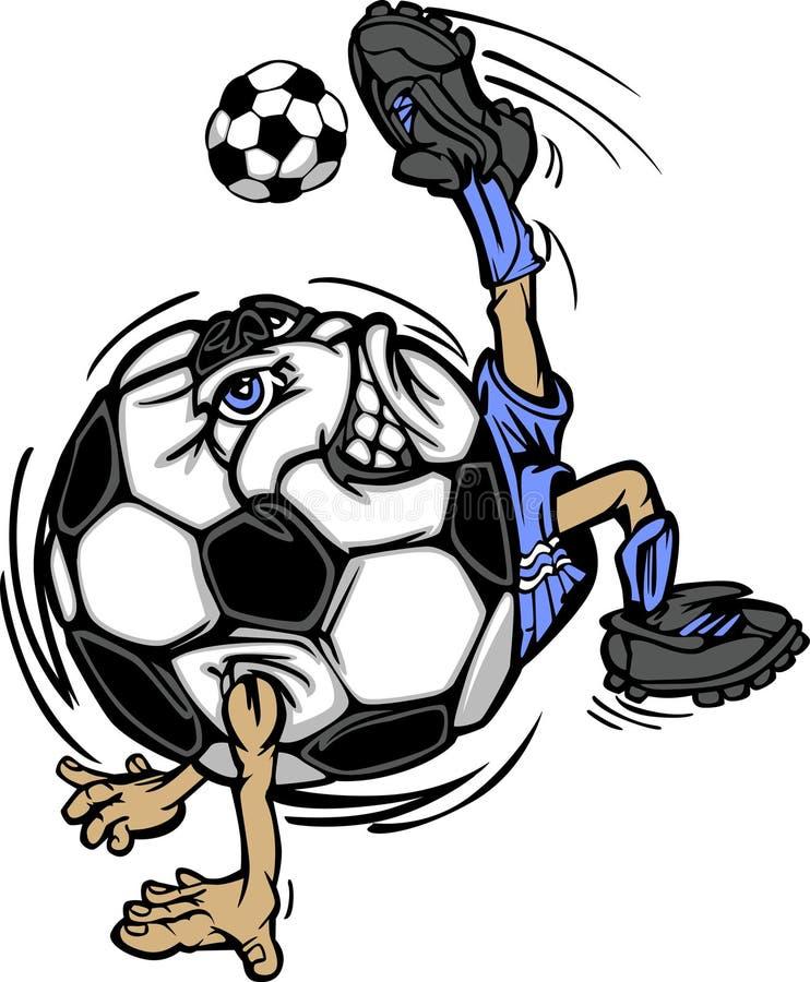 футбол игрока шаржа шарика иллюстрация вектора