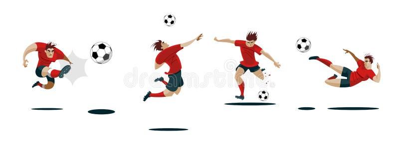 футбол игрока шарика пиная Установите собрание различных представлений иллюстрация вектора