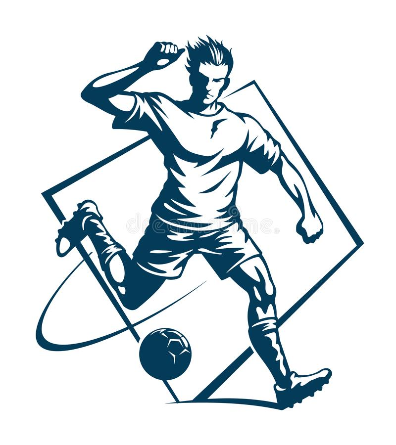 Футбол или футболист, стилизованная иллюстрация бесплатная иллюстрация
