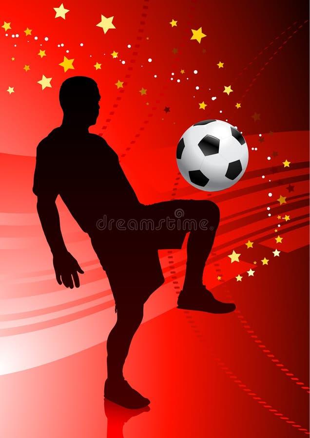 футбол красного цвета футболиста предпосылки иллюстрация штока