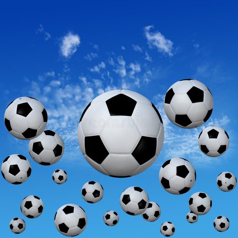 футбол неба максимума футболов облака установленный бесплатная иллюстрация
