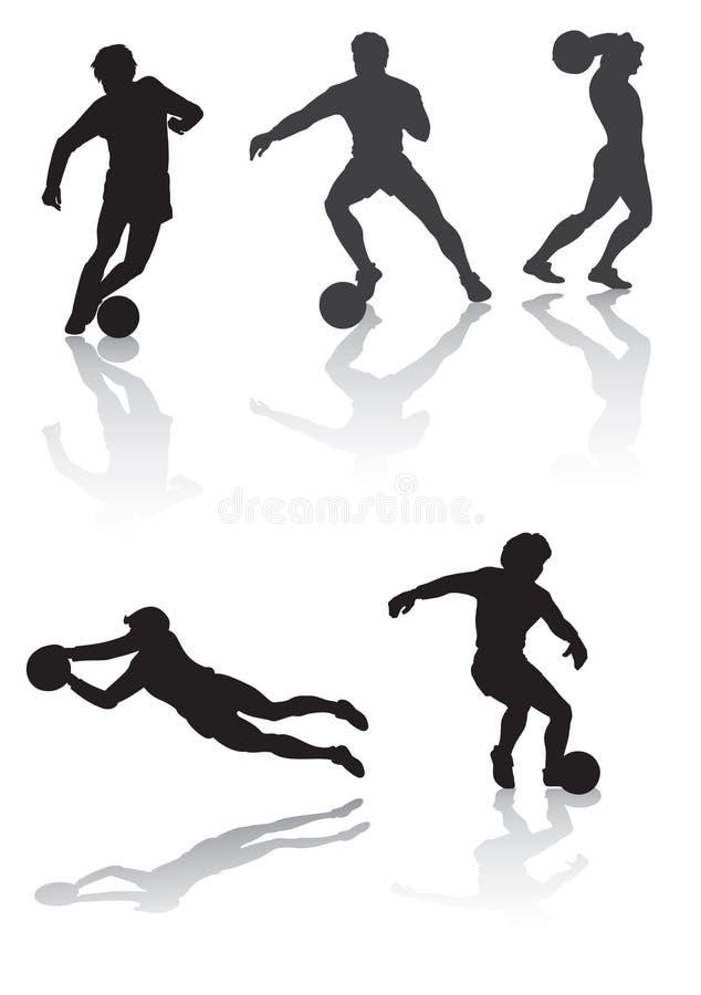 футбол силуэта игрока стоковые изображения rf