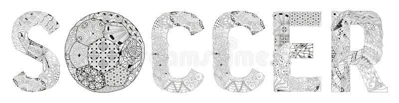 Футбол слова для красить Объект zentangle вектора декоративный иллюстрация вектора