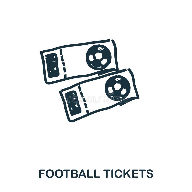 Футбол снабжает значок билетами Передвижные apps, печатание и больше использования Простой элемент поет Monochrome футбол снабжае