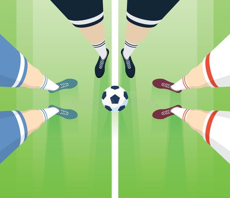 Футбол/футбольное поле с игроками Foots в ботинках Рефери с взгляд сверху 2 игроков Длинная перспектива иллюстрация вектора