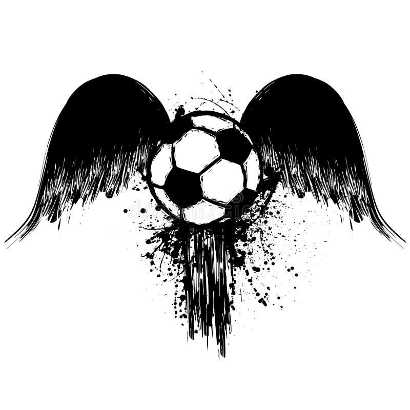 Футбол Grunge с крыльями иллюстрация вектора