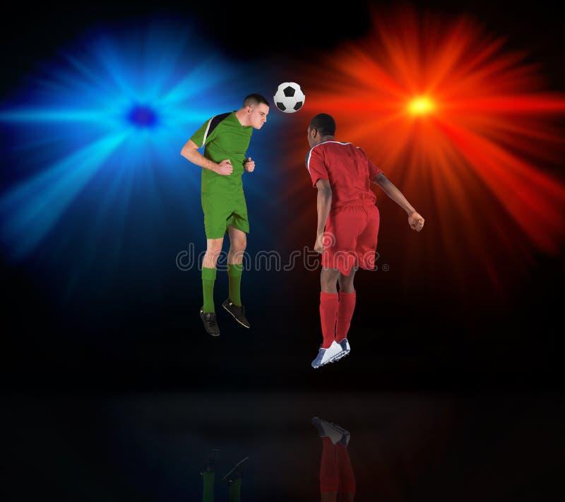 Футболисты решая для шарика бесплатная иллюстрация