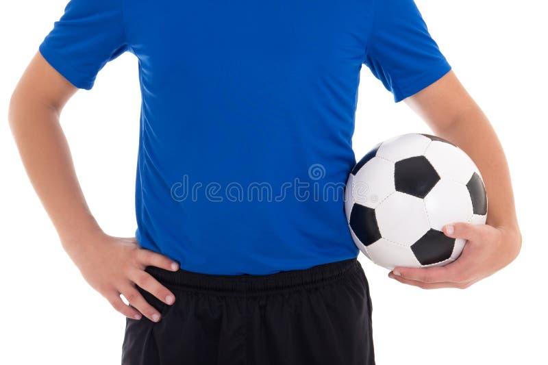Футболист в сини при шарик изолированный на белой предпосылке стоковые изображения